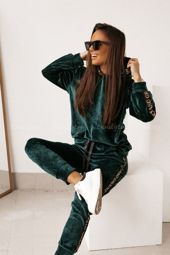 VELOUR JUMPSUIT DANCE AND GROOVE BOTTLE GREEN