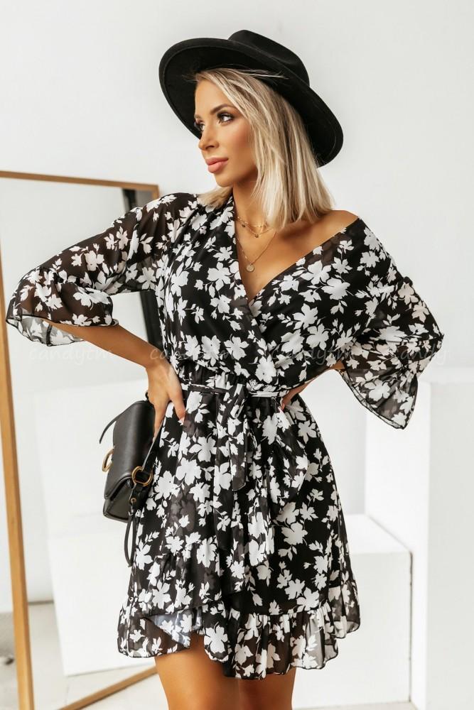 DRESS WEST WRAP NECK BLACK-WHITE