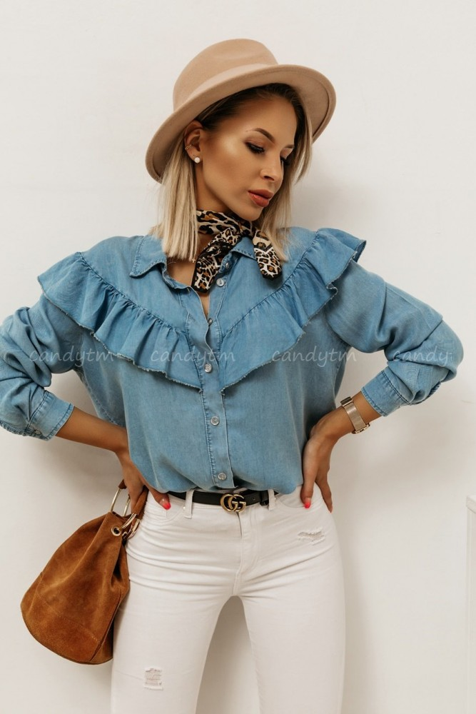 DENIM SHIRT WITH FRILL