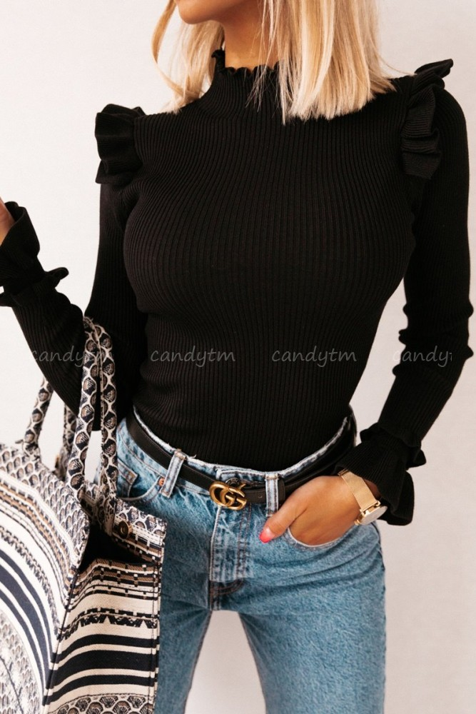RIBBED BLOUSE WITH FRILLS BLACK