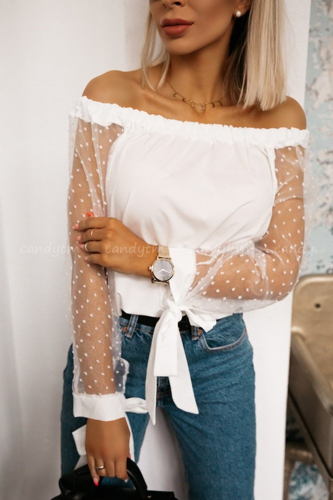 OFF SHOULDER BLOUSE WITH TULLE SLEEVES POLKA DOTS WHITE