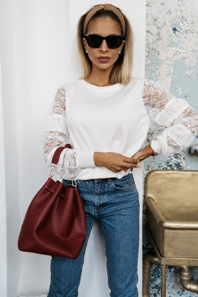 BLOUSE WITH LACE SLEEVES CREAM WHITE