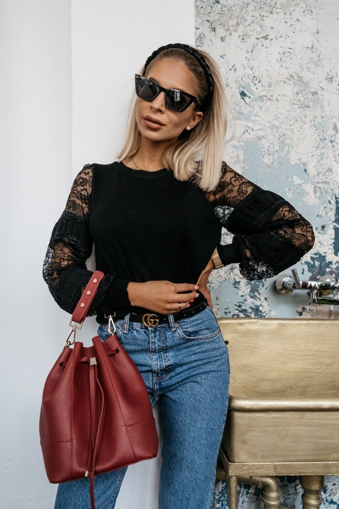 BLOUSE WITH LACE SLEEVES BLACK