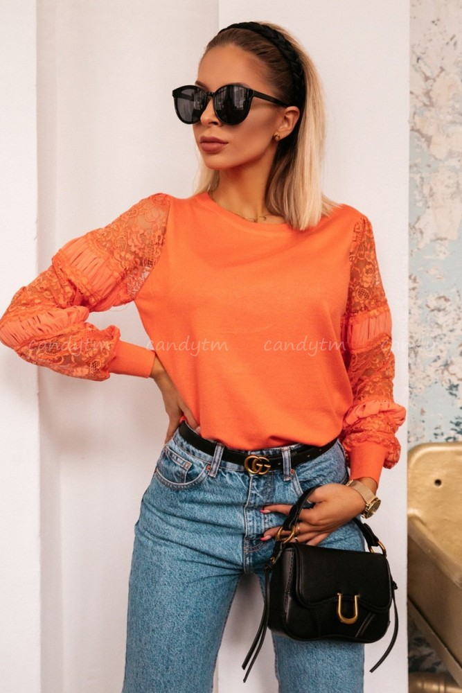 BLOUSE WITH LACE SLEEVES ORANGE