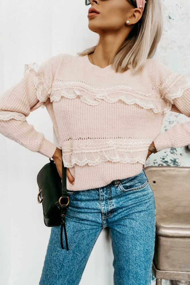 SWEATER WITH LACE STRIPES POWDER PINK