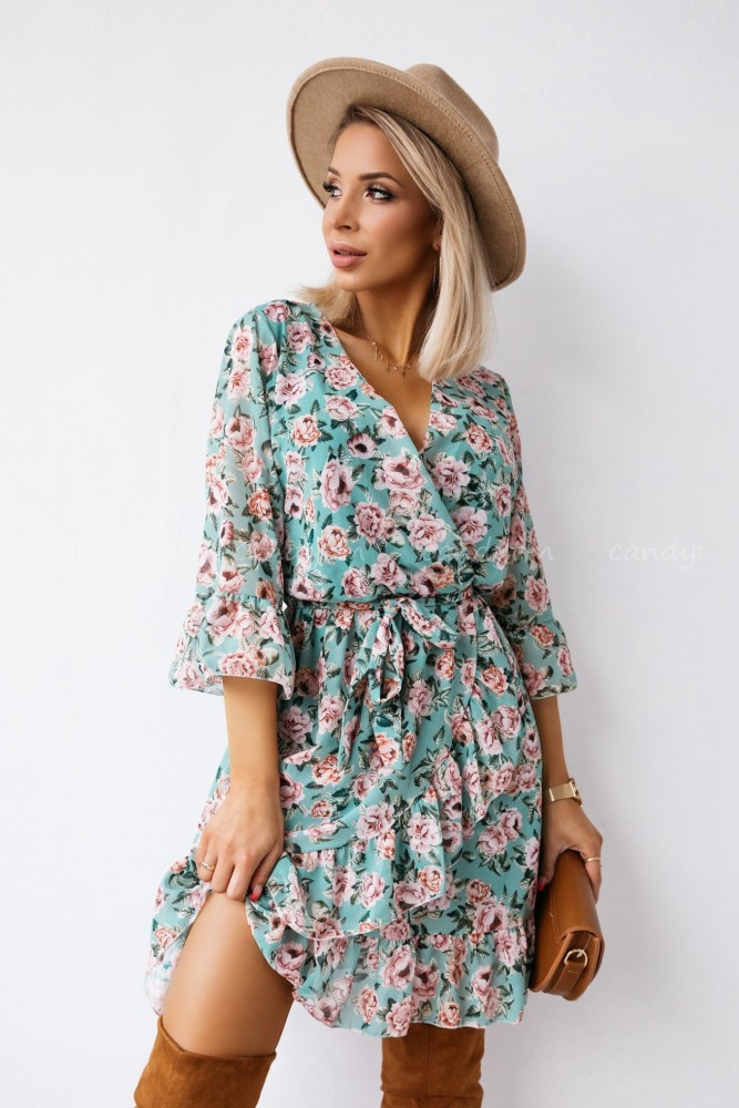 DRESS WEST WRAP NECK MINT WITH ROSES