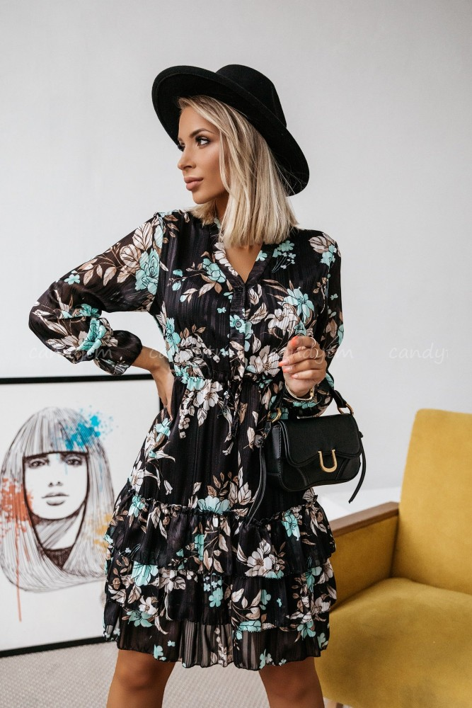 BLACK DRESS WITH TURQUOISE FLOWERS BUTTONS