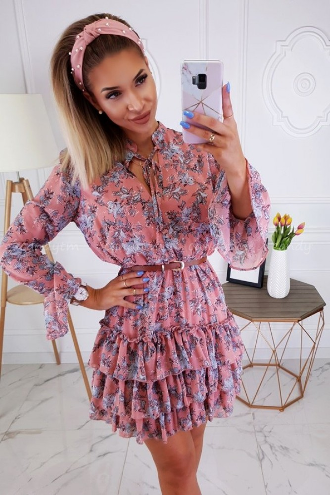 FRILL DRESS RETRO WITH FLOWERS