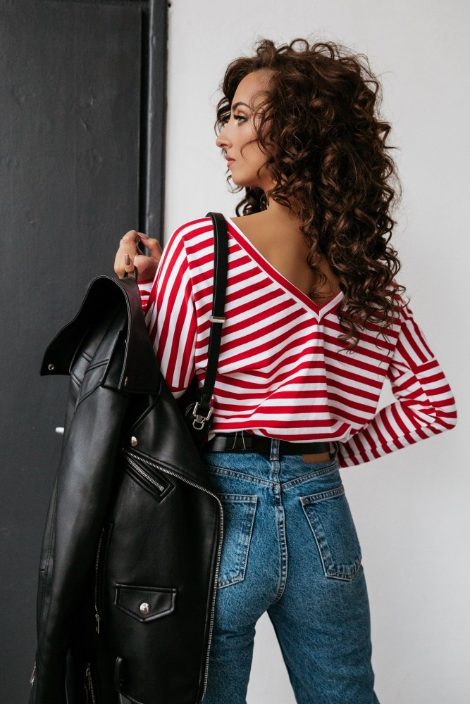 BLOUSE T-SHIRT LONG WHITE AND RED STRIPES