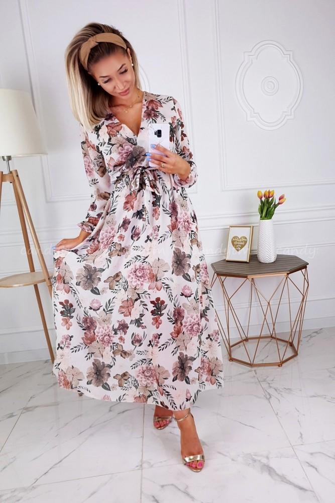 MAXI DRESS WITH FLOWERS ECRU