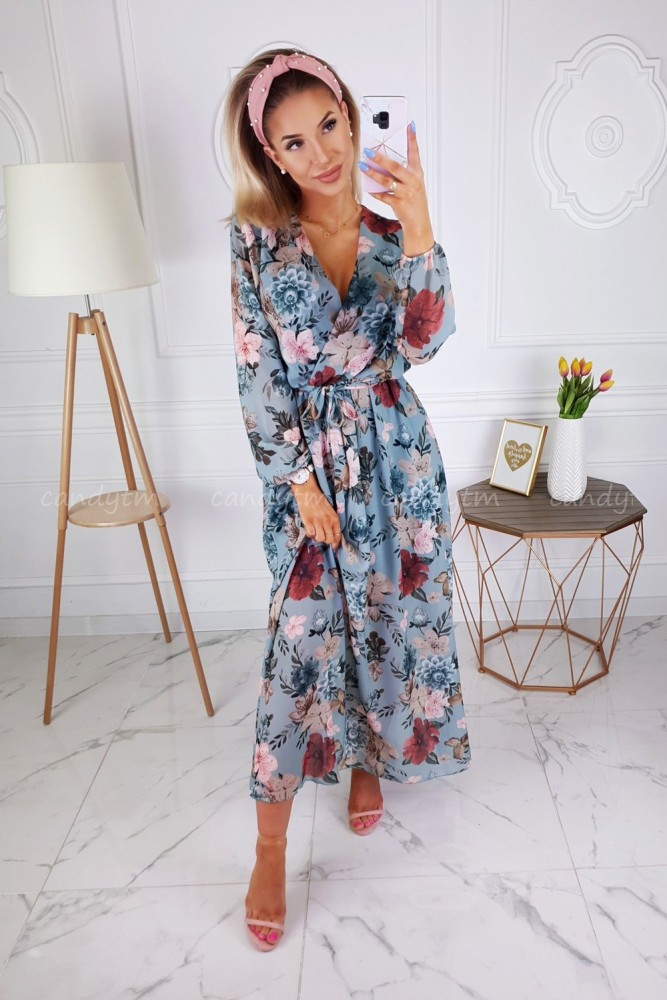 MAXI DRESS WITH FLOWERS MINT/BLUE