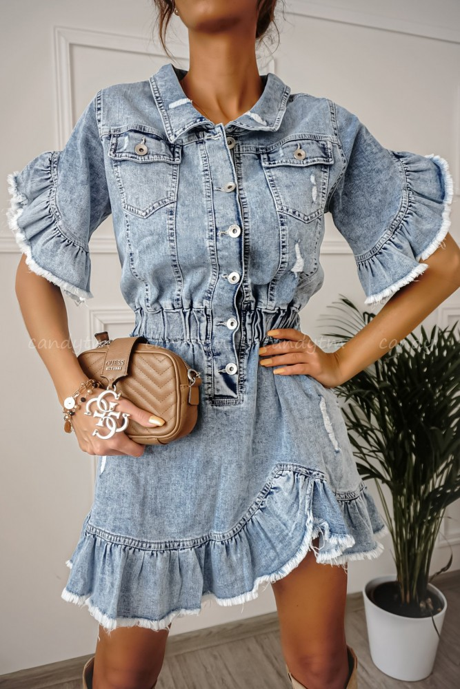 JEANS DRESS WITH FRILL CALLAS