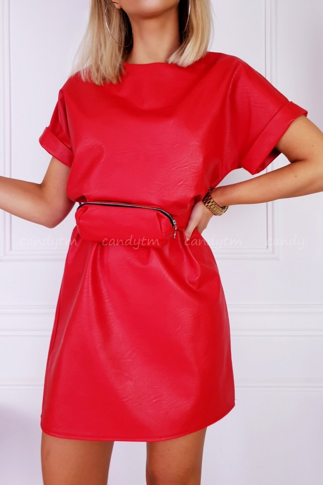 DRESS MILO FAUX LEATHER + KIDNEY BAG RED