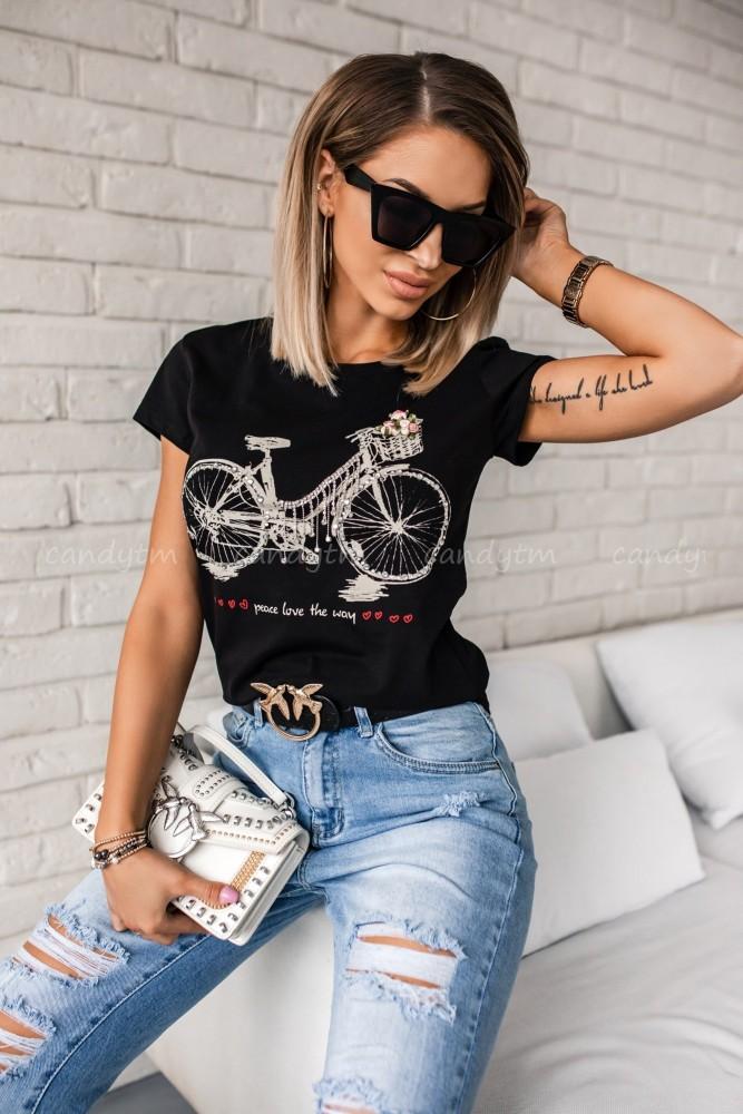 T-SHIRT BICYCLE CZARNY