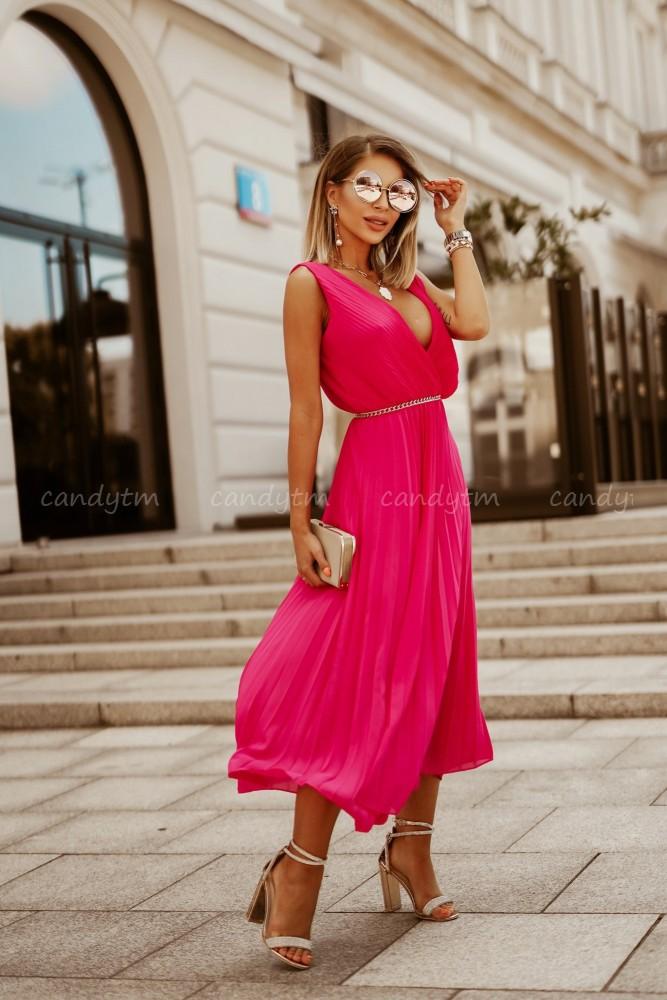PLEATED MAXI DRESS FUCHSIA