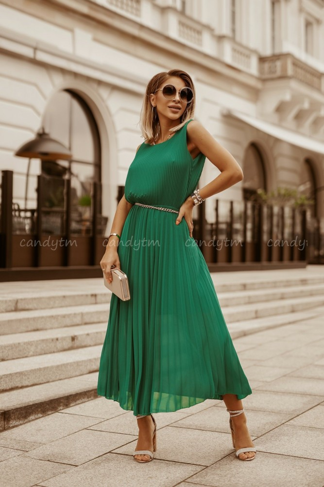 PLEATED MAXI DRESS LIGHT GREEN