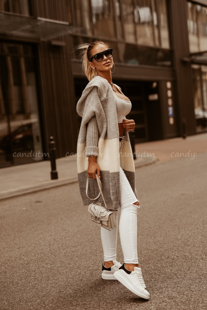 STRIPED CARDIGAN SEMPRE WHITE