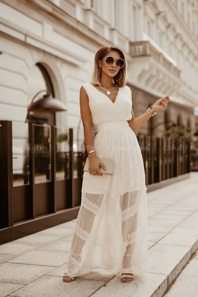 SUKIENKA Z KORONKI MAXI STRIPES CREAM