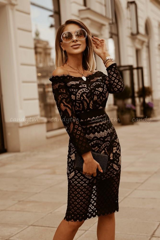 LACE PENCIL OFF SHOULDER DRESS BLACK/BEIGE