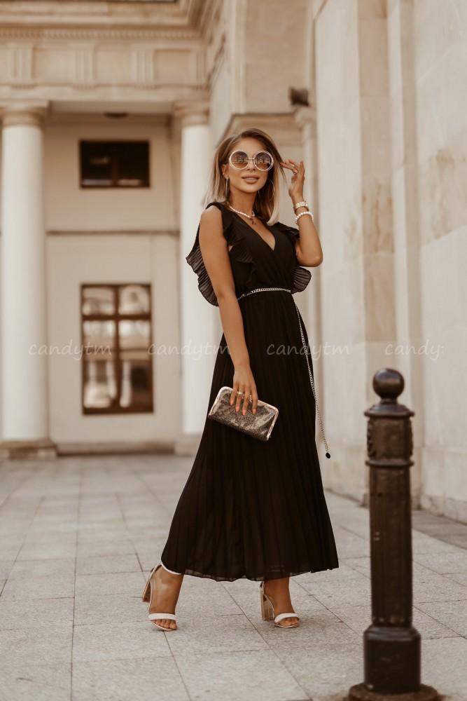 PLEATED MAXI DRESS PORTO BLACK