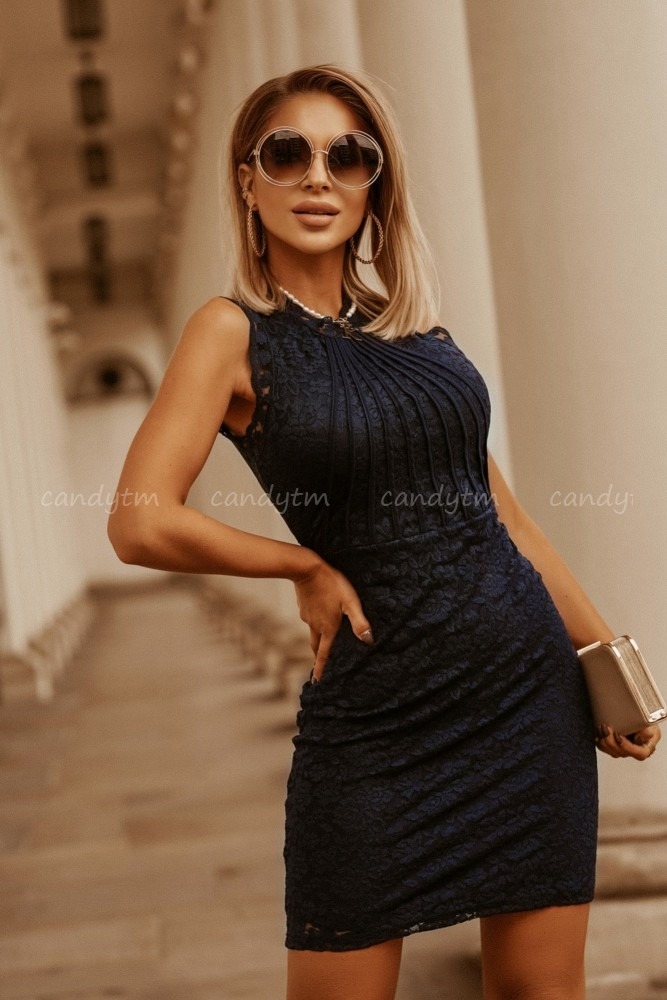 LACE DRESS ROSES NAVY BLUE