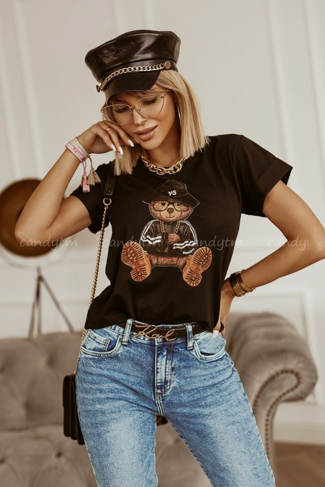 T-SHIRT TEDDY BEAR CZARNY