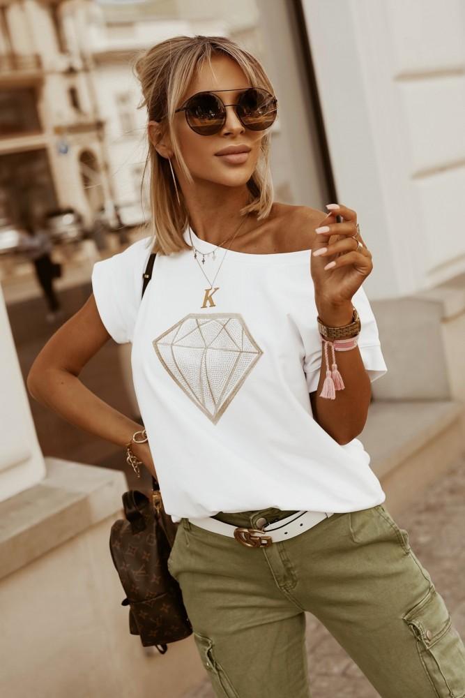 T-SHIRT DIAMOND BIAŁY